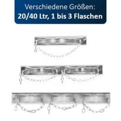 Gasflaschen-Wandhalterung für 1 bis 3 Flaschen, 20/40 Liter, max. Ø 210 mm, mit Kette und Montagelochung, verzinkt