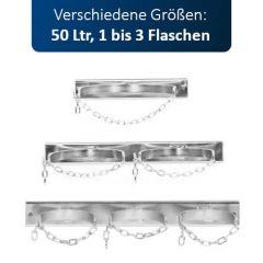 Gasflaschen-Wandhalterung für 1 bis 3 Flaschen, 50 Liter, max. Ø 229 mm, mit Kette und Montagelochung, verzinkt